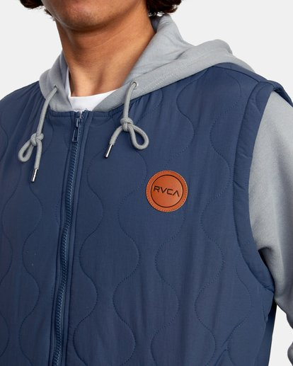3 Grant Hooded Puffer Jacket Blue AVYFT00205 RVCA