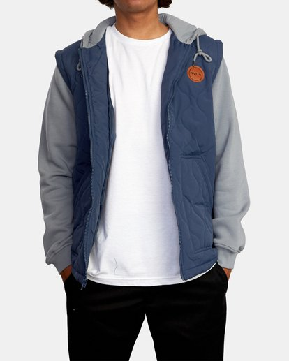1 Grant Hooded Puffer Jacket Blue AVYFT00205 RVCA