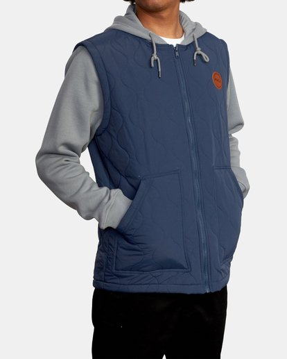 7 Grant Hooded Puffer Jacket Blue AVYFT00205 RVCA