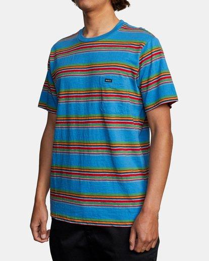 3 El Rosario Stripe Short Sleeve Tee Blue AVYKT00149 RVCA