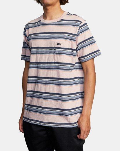 3 El Rosario Stripe Short Sleeve Tee Grey AVYKT00149 RVCA