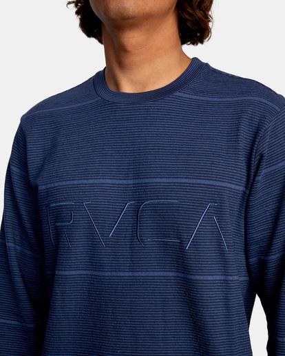 3 Spent Stripe Long Sleeve Tee Blue AVYKT00163 RVCA
