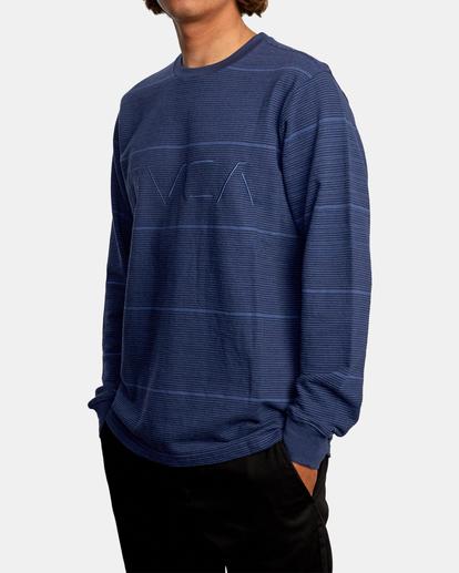 4 Spent Stripe Long Sleeve Tee Blue AVYKT00163 RVCA