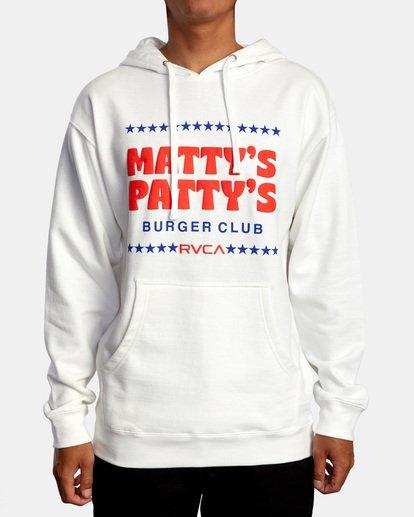 0 Matty Matheson | Matty's Patty's Burger Club Hoodie White AVYSF00177 RVCA
