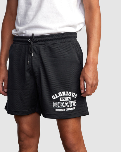 "3 Matty Matheson | Matty Mesh Elastic Shorts 16"" Black AVYWS00146 RVCA"