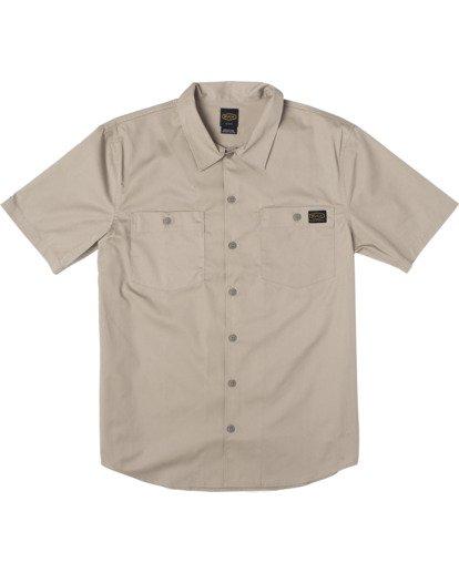 0 Recession   Day Shift Short Sleeve Shirt Beige AVYWT00147 RVCA