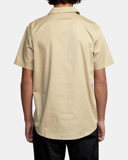 2 Recession   Day Shift Short Sleeve Shirt Beige AVYWT00147 RVCA