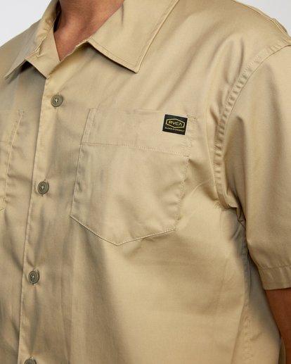 3 Recession   Day Shift Short Sleeve Shirt Beige AVYWT00147 RVCA