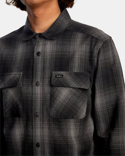 3 Vesuvio Long Sleeve Flannel Shirt Black AVYWT00169 RVCA