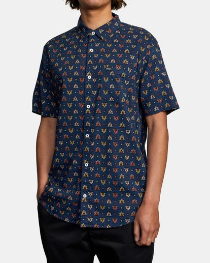 3 La Fleur Short Sleeve Shirt Blue AVYWT00204 RVCA