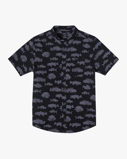 0 Ben Horton | Dead Fish Short Sleeve Shirt Black AVYWT00205 RVCA