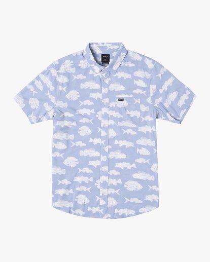 0 Ben Horton   Dead Fish Short Sleeve Shirt Blue AVYWT00205 RVCA