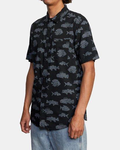 4 Ben Horton | Dead Fish Short Sleeve Shirt Black AVYWT00205 RVCA