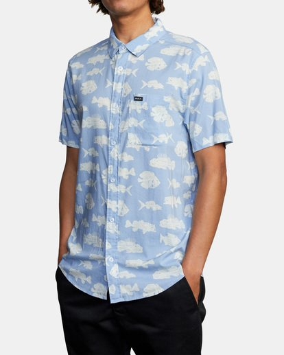 3 Ben Horton   Dead Fish Short Sleeve Shirt Blue AVYWT00205 RVCA