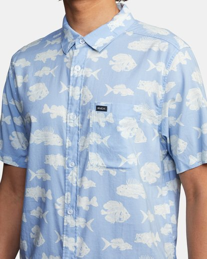 4 Ben Horton   Dead Fish Short Sleeve Shirt Blue AVYWT00205 RVCA