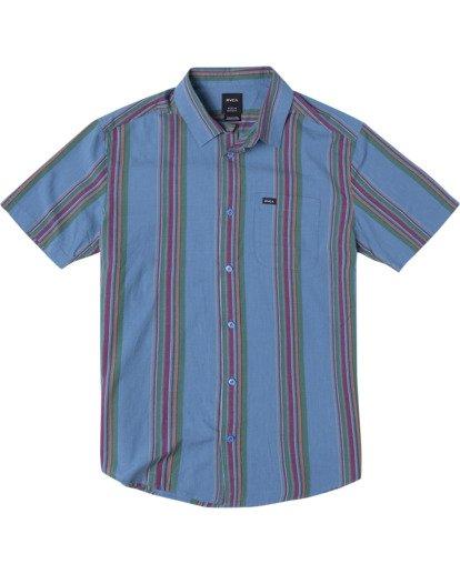 0 El Rosario Stripe Short Sleeve Shirt Blue AVYWT00207 RVCA