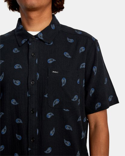 3 Colours Paisley Short Sleeve Shirt Black AVYWT00228 RVCA