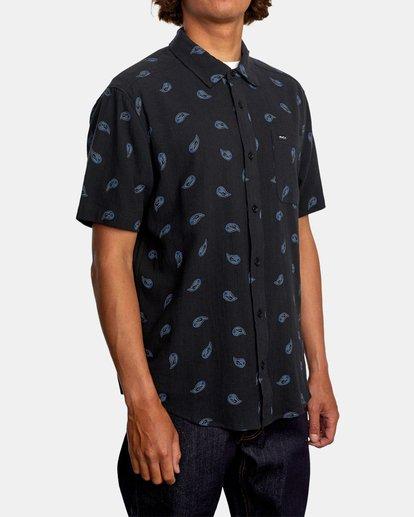 5 Colours Paisley Short Sleeve Shirt Black AVYWT00228 RVCA