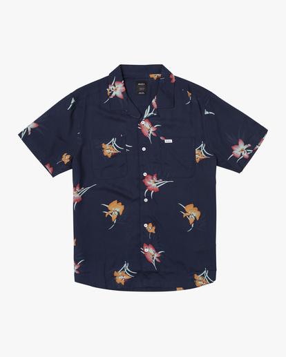 0 Cliffs Floral Short Sleeve Shirt Blue AVYWT00229 RVCA