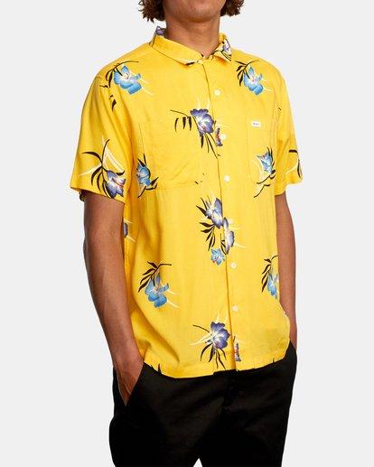 5 Cliffs Floral Short Sleeve Shirt White AVYWT00229 RVCA