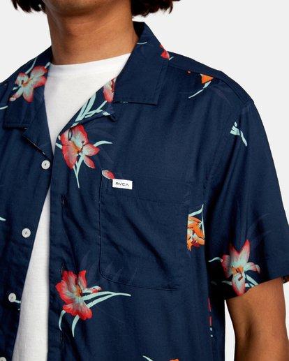 3 Cliffs Floral Short Sleeve Shirt Blue AVYWT00229 RVCA