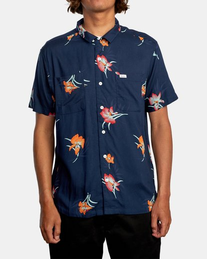1 Cliffs Floral Short Sleeve Shirt Blue AVYWT00229 RVCA