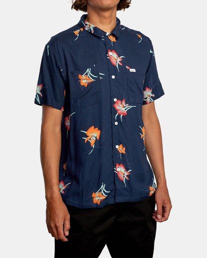 5 Cliffs Floral Short Sleeve Shirt Blue AVYWT00229 RVCA