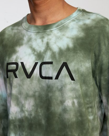3 BIG RVCA TIE DYE LONG SLEEVE TEE Green AVYZT00223 RVCA