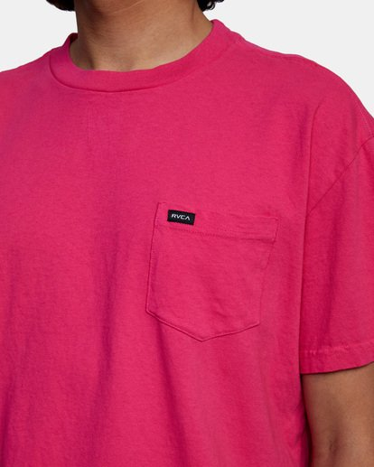 5 SOLO LABEL PIGMENT DYE SHORT SLEEVE TEE Red AVYZT00301 RVCA
