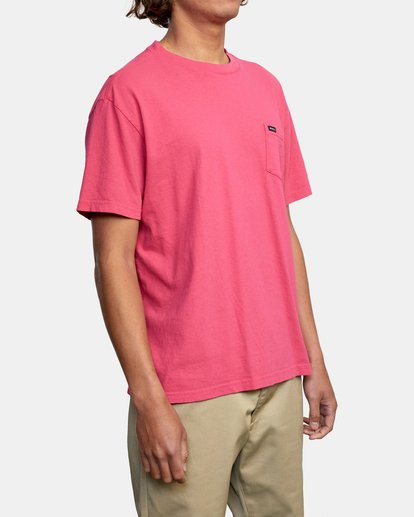 6 SOLO LABEL PIGMENT DYE SHORT SLEEVE TEE Red AVYZT00301 RVCA