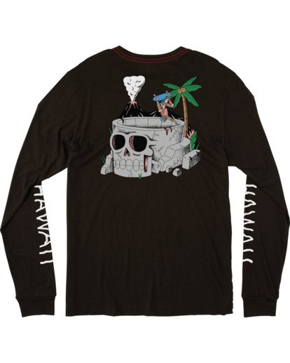 1 Luke P | Skull Bow Long Sleeve Tee Black AVYZT00541 RVCA