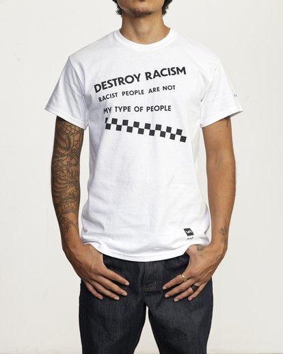 1 DESTROY RACISM TEE White AVYZT00547 RVCA