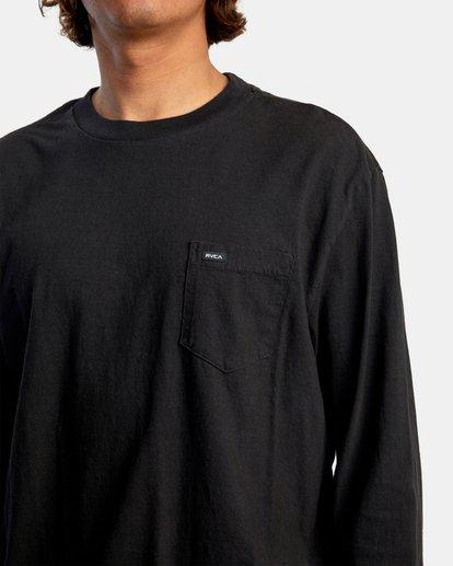 4 Solo Label Long Sleeve Tee Black AVYZT00645 RVCA