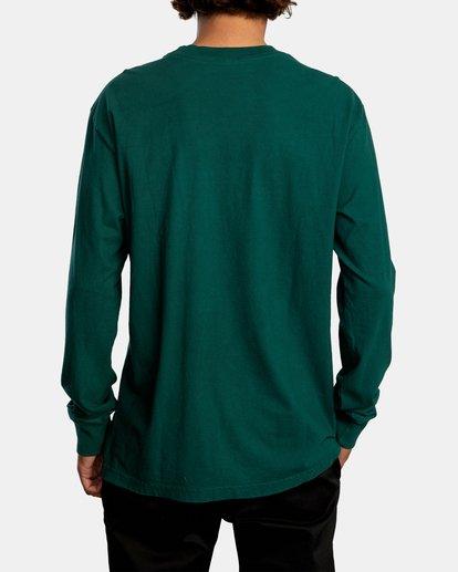 3 Solo Label Long Sleeve Tee Green AVYZT00645 RVCA