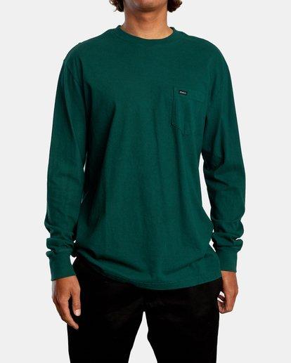 2 Solo Label Long Sleeve Tee Green AVYZT00645 RVCA