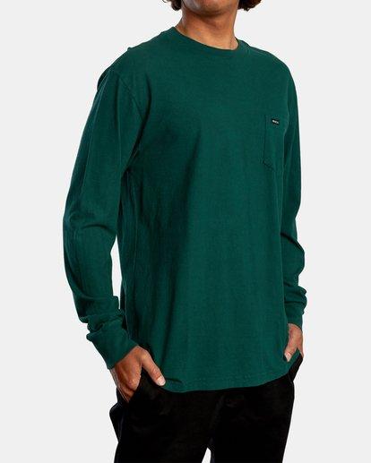 6 Solo Label Long Sleeve Tee Green AVYZT00645 RVCA