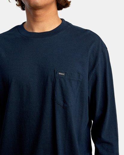 4 Solo Label Long Sleeve Tee Blue AVYZT00645 RVCA