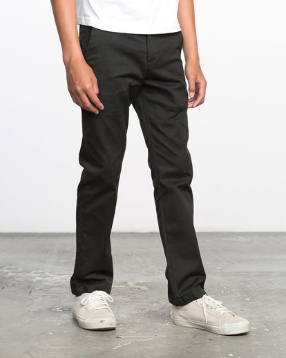 6 Boys WEEKDAY STRETCH straight fit PANT Black BC301WDS RVCA