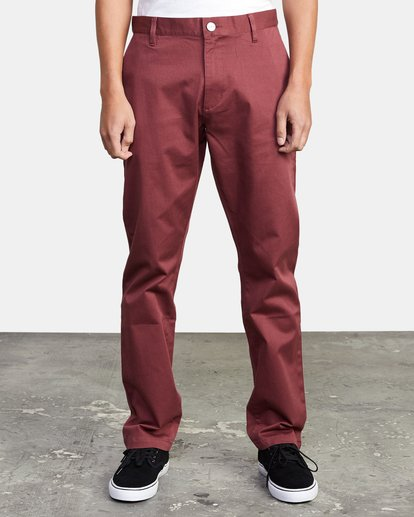 1 week-end Stretch straight fit Pant Red M3493RWS RVCA