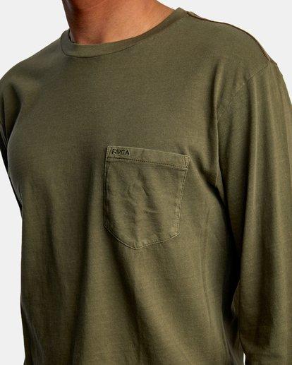 3 PTC Pigment Long Sleeve TEE Green M467TRPT RVCA