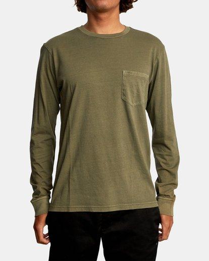 1 PTC Pigment Long Sleeve TEE Green M467TRPT RVCA