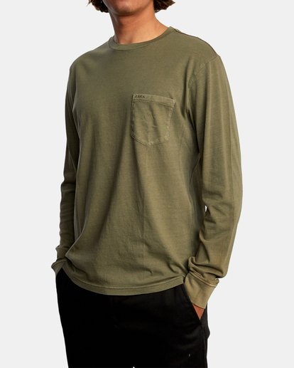 4 PTC Pigment Long Sleeve TEE Green M467TRPT RVCA