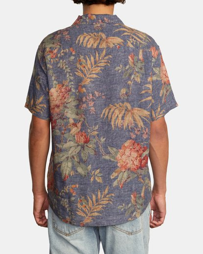 4 Beat Print Short Sleeve Shirt Blue M5153RBS RVCA