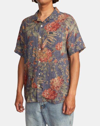 5 Beat Print Short Sleeve Shirt Blue M5153RBS RVCA
