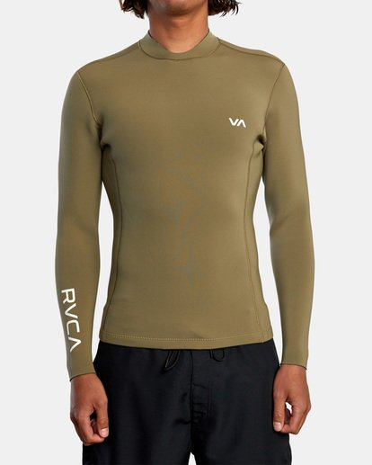 1 Ancell Back Zip Neoprene Wetsuit Jacket Green MR03URBZ RVCA