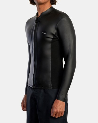 4 Ancell Front Zip Smoothie Wetsuit Jacket Black MR53NRFZ RVCA
