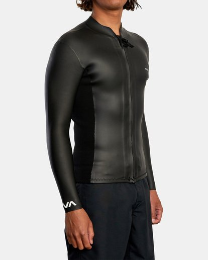5 Ancell Front Zip Smoothie Wetsuit Jacket Black MR53NRFZ RVCA