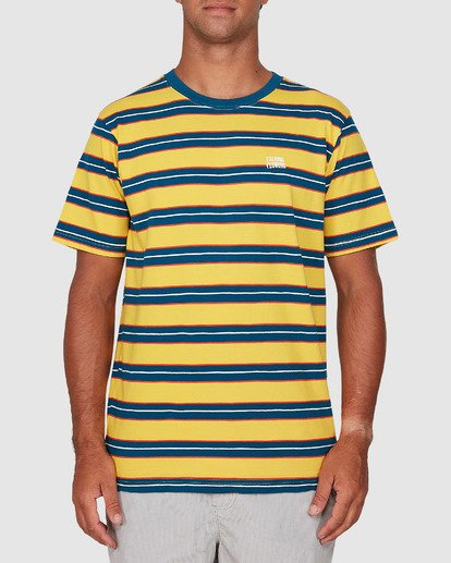 0 Speak Up Stripe Short Sleeve Tee Yellow R106065 RVCA