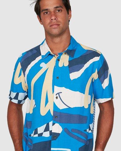 3 Ultrablue Short Sleeve Shirt Blue R106181 RVCA