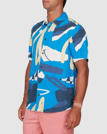 1 Ultrablue Short Sleeve Shirt Blue R106181 RVCA